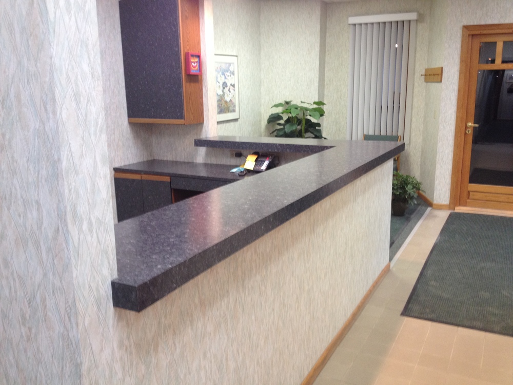 Fine Office Counter Tops Walltowall Builtin Desk And Bookcase With