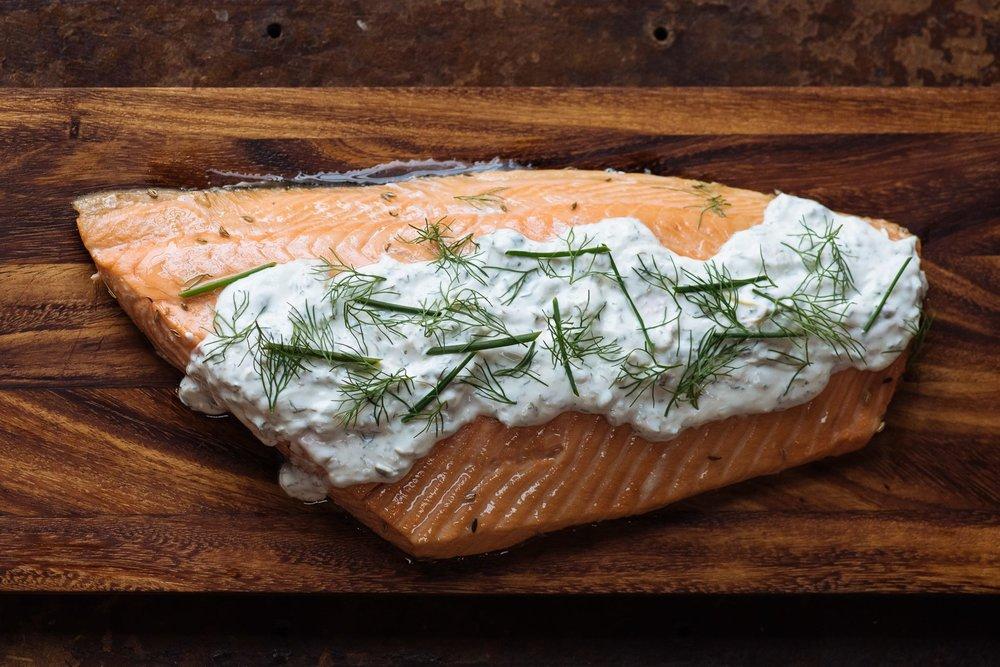 brined salmon filet, dill caper lemon creme fraiche