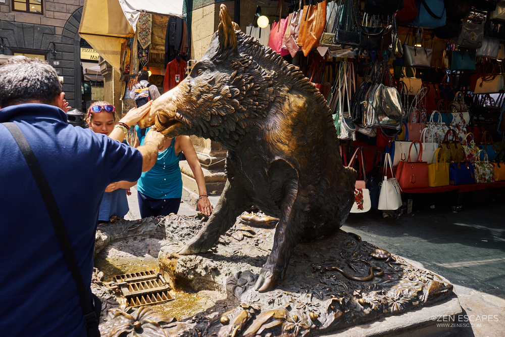 II Porcellino (Piglet), the famous bronze boar statue in Florence. It was said if you put a coin into its jaws and let it flow through the grating, good luck ensures. A rub to the snout then ensures a return to Florence. Look how shiny his snout is.... from all that rubbing.