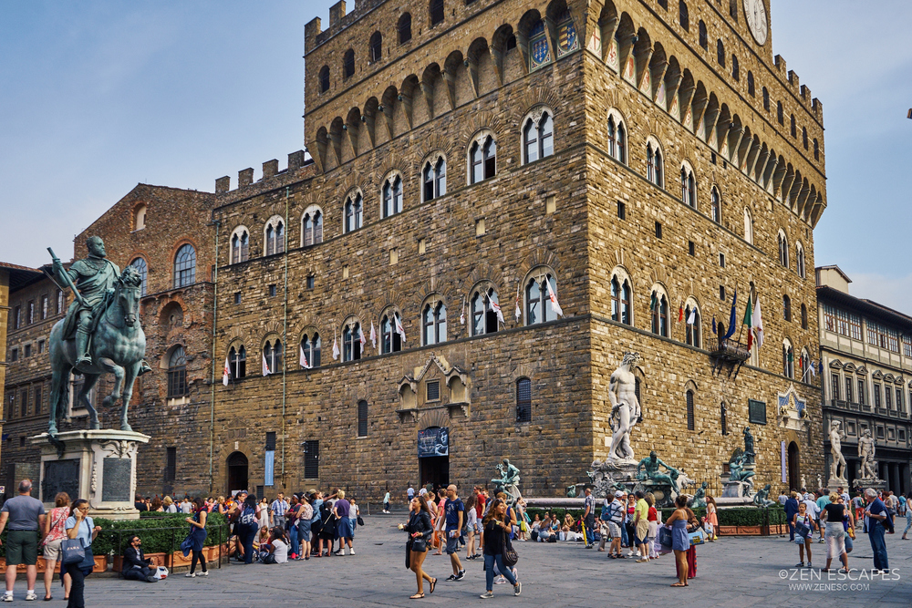 "On Piazza della Signoria. Here's you'll find lots of Renaissance art and statues. On the left is the ""bronze equestrian statue of Cosimo I""."