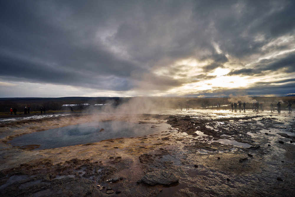 Strokkur on dormant state before or after erupting