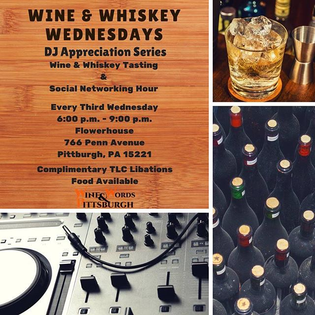 Fun series @flowerhousepgh tonight and every 3rd Wednesday. DJ Appreciation Series & Libation Tasting.  First up @djsixone!  Tasting:  Booker's Bourbon  Special Red & White Selection And @tlclibations Peach Mango Sangria  21 & over to taste, $5  Food & non-alcoholic Libations available!