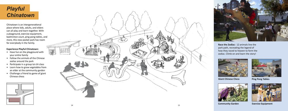 Playful Chinatown: path from park/green space to the south, featuring activities and exercise across generations