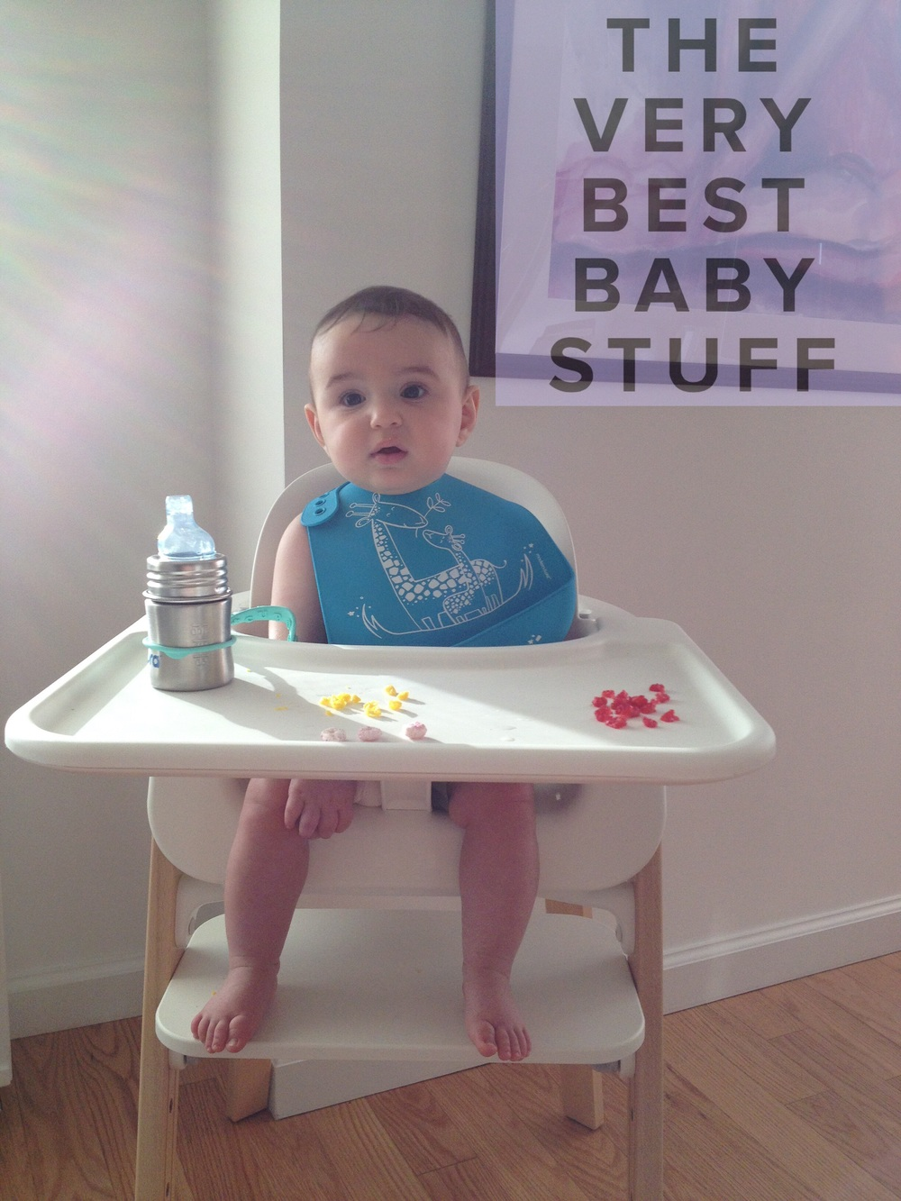 I LOVE THAT THE BABY SET SEAT CAN BE POSITIONED EITHER FORWARD OR BACK SO THAT S IS CLOSE TO HIS FOOD. I ALSO APPRECIATE THAT THE FOOTREST CAN BE ADJUSTED SO THAT FROM DAY ONE HIS FEET RESTED COMFORTABLY.   ALSO PICTURED ARE   OUR   FAVORITE SILICONE BIB  , A   SILICONE CUP LEASH   AND   AND   SIPPY CUP  .