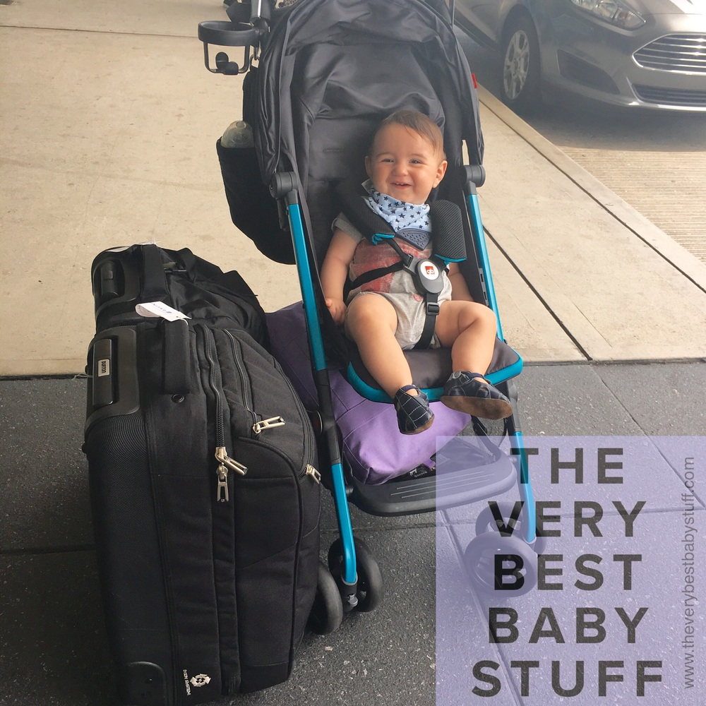 At the airport with  the stroller  fully loaded with  our favorite carryon (has cram pockets and holds way more than you would expect)  and  a great Herschel bag under the seat (it works really well as a large lightweight diaper bag) .