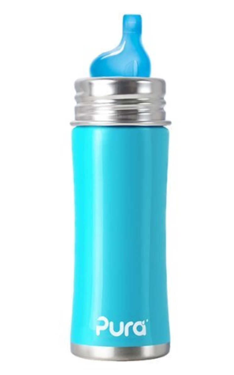 Pura Kiki Stainless Sippy Bottle Stainless Steel with XL Sipper Spout, 11 Ounce, Aqua Blue
