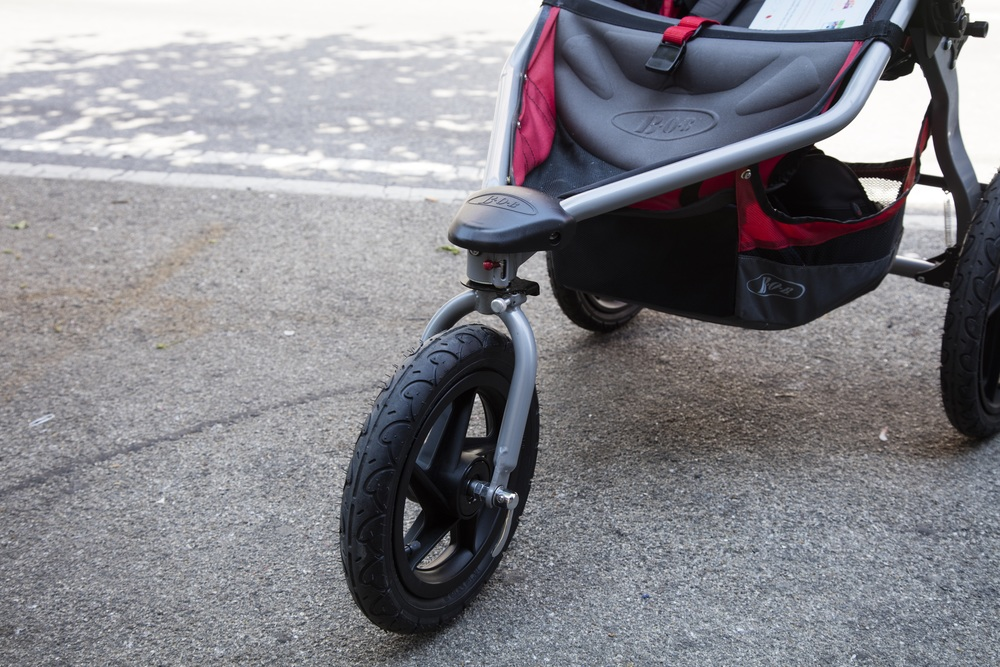 This stroller has the quick release wheel that can detach while being.