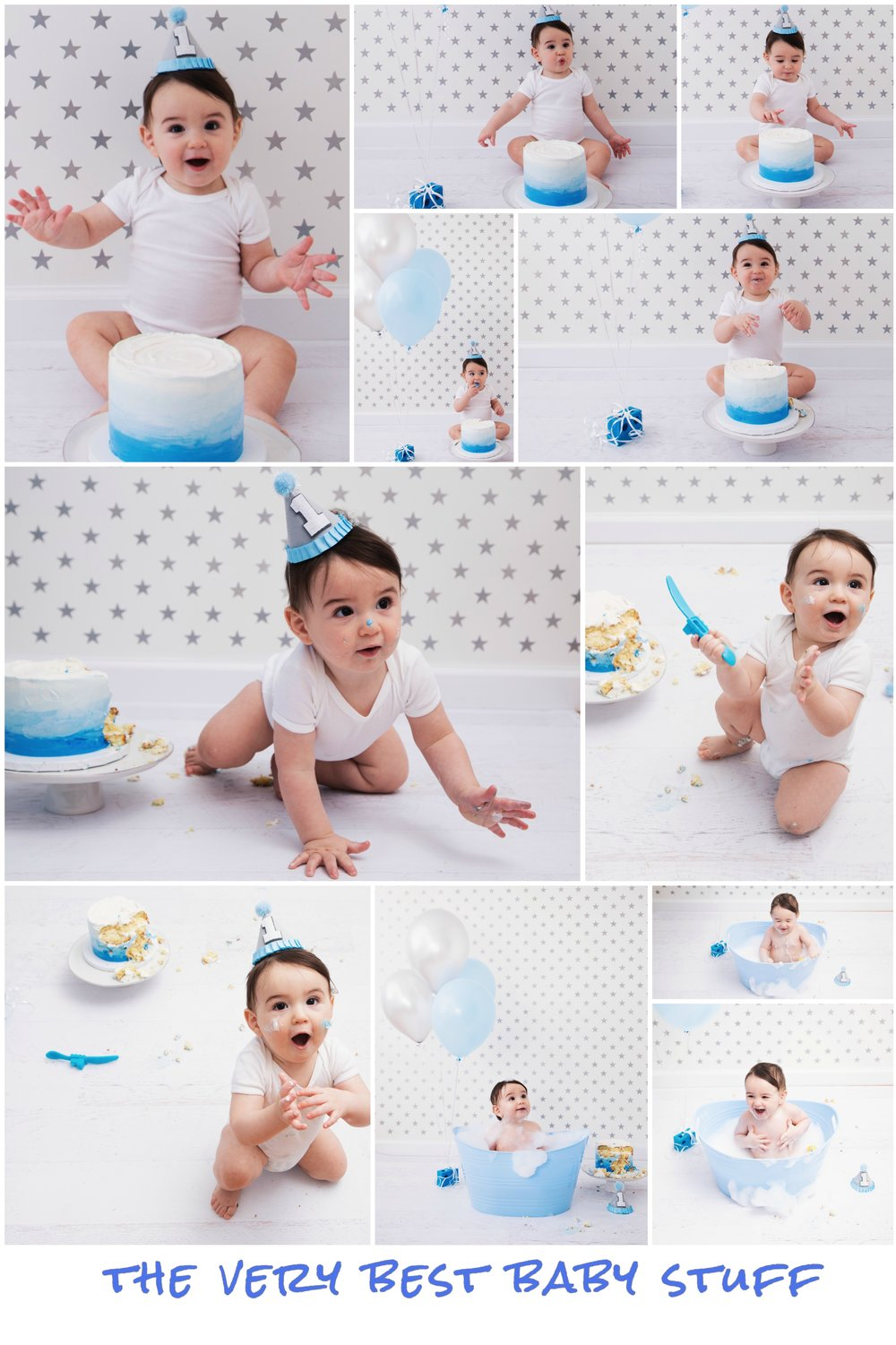 Blue Ombre Silver Star Boy First Birthday Cake Smash Collage
