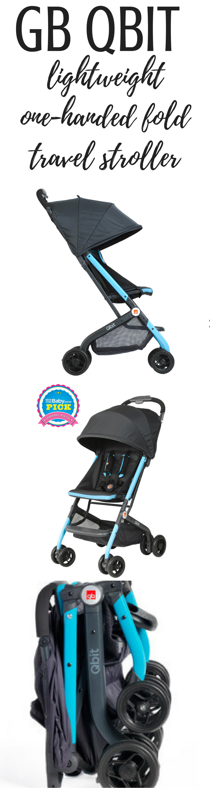 GB QBit reclining travel stroller with one handed fold, upright fold