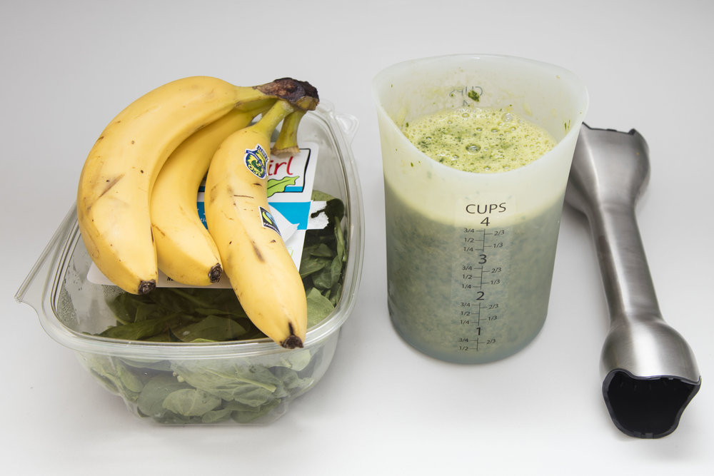 spinach banana pancakes for toddlers and babies, immersion blender, silicone measuring cup