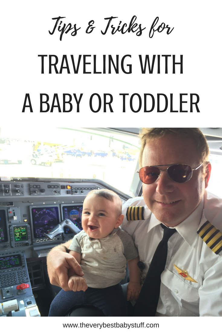 tips and tricks for traveling with a baby including what to pack, how to transport food and milk, toys to entertain your baby or toddler