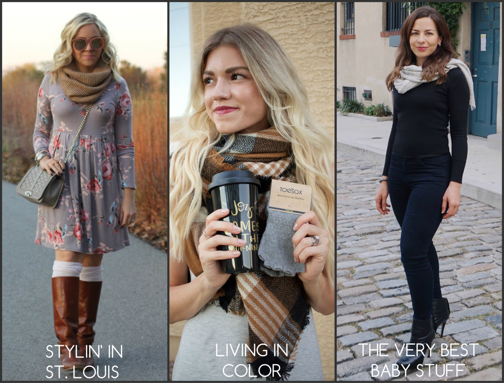 fashion link up collage of scarves