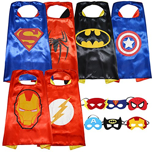 Superhero Dress Up Costumes: Set of 6 Satin Capes and 6 Felt Masks