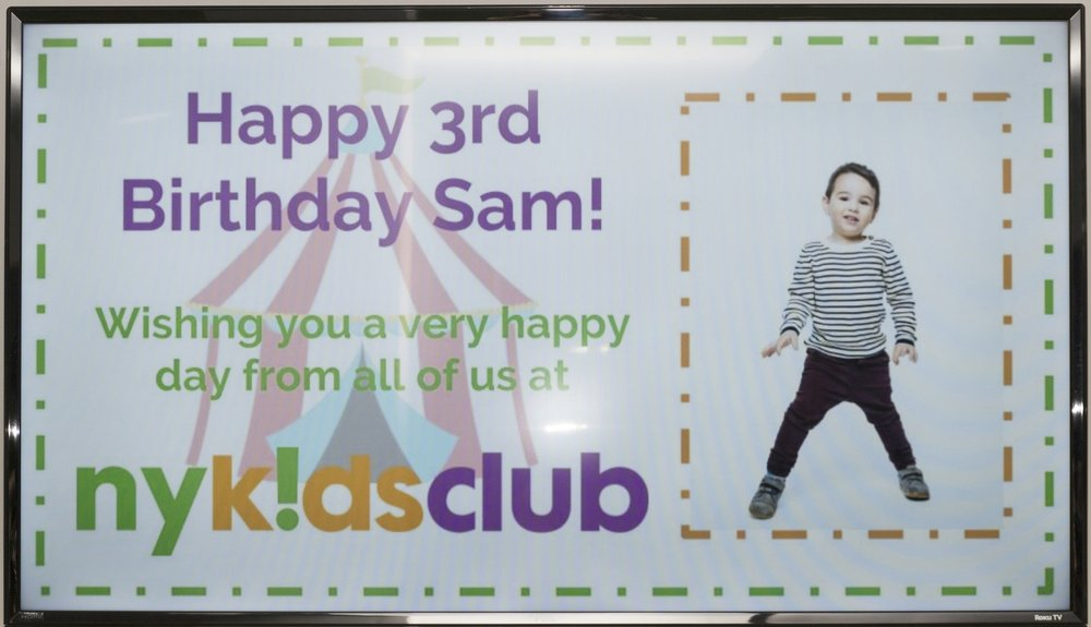 NY Kids Club put a photo of my son on the screen in the lobby, which he loved!