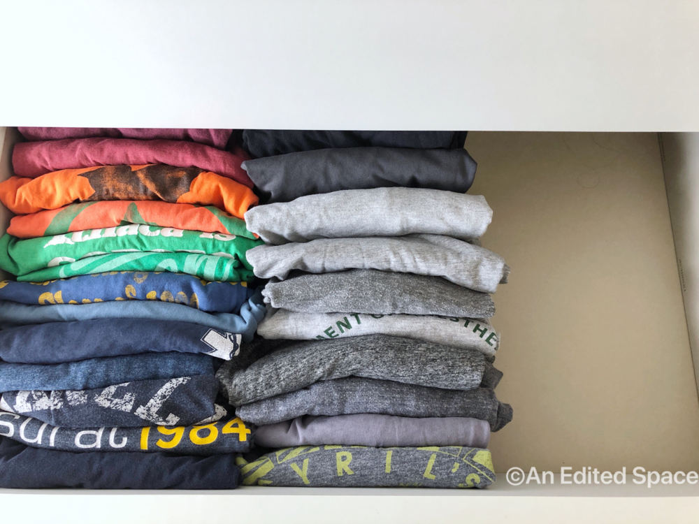 "Konmari  style ""file folding"" of clothing."