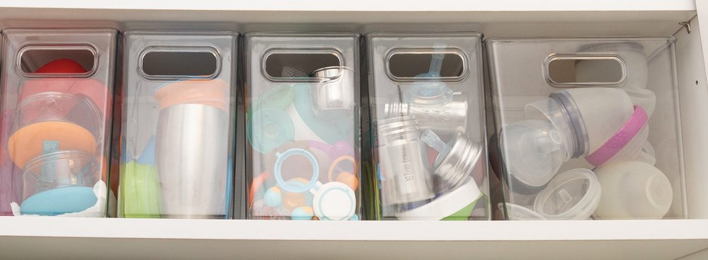 Miriam's kid's shelf in the kitchen.
