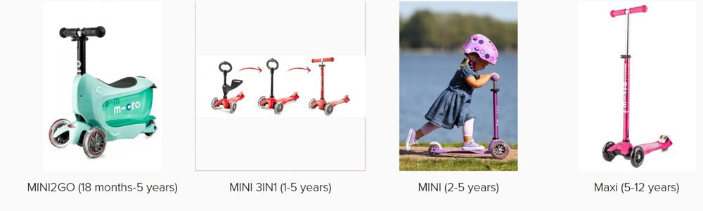 Click the image for details on which scooter is right for your child.