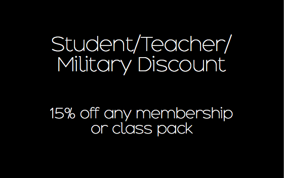 Must purchase in studio with valid student/teacher/military ID