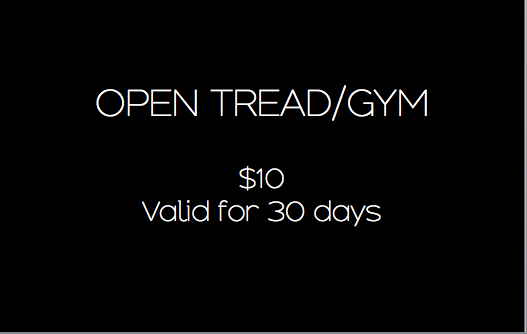 Valid for one time use of our open gym hours. get full access to our facilities, including woodway treadmills, kettle bells, resistance bands, wokrout mats, etc.see schedule for specific hours ALLOTTED for open gym.