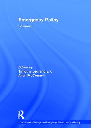 Emergency Policy (with Allan McConnell)