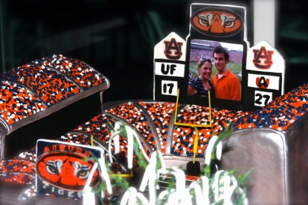 Grooms cake- War Eagle- With an actual pic of us from the game