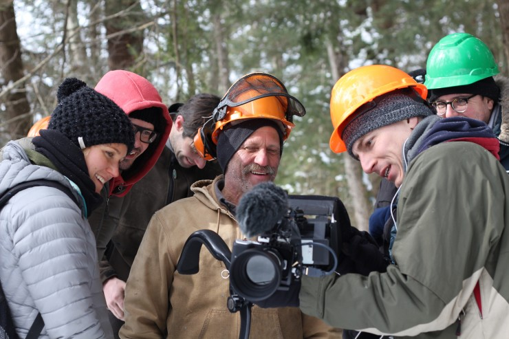 "Bob Tarasuk reviews a take with the crew of ""Bob and the Trees"""