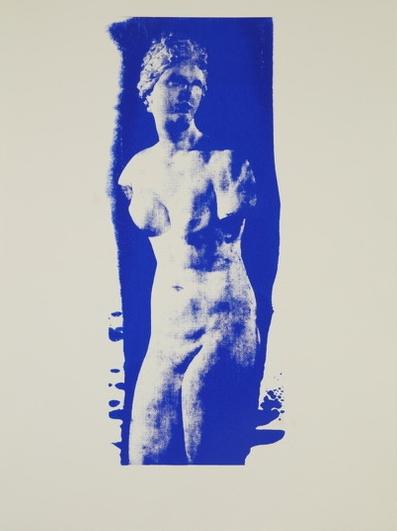 Aphrodite  (His Blue II) Unique Photo Silk Screen 24 x 18 inches