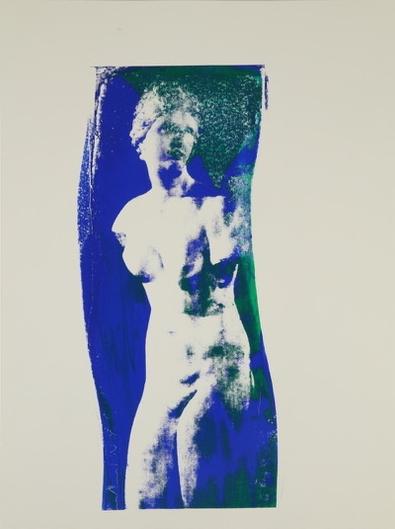Aphrodite  (blue and green) Unique Photo Silk Screen 24 x 18 inches