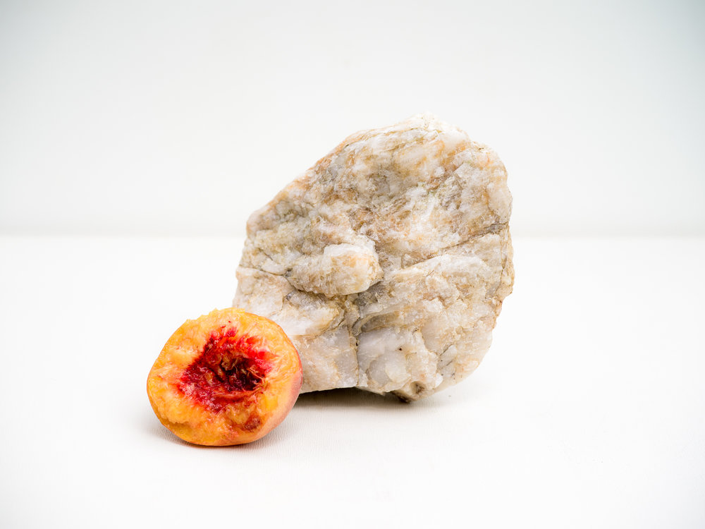 Peach with Quartz , 2018  Signed on verso chromogenic dye coupler print 30 x 30 inches Edition of 3 + 1AP 48 x 48 inches Edition of 3 + 1AP