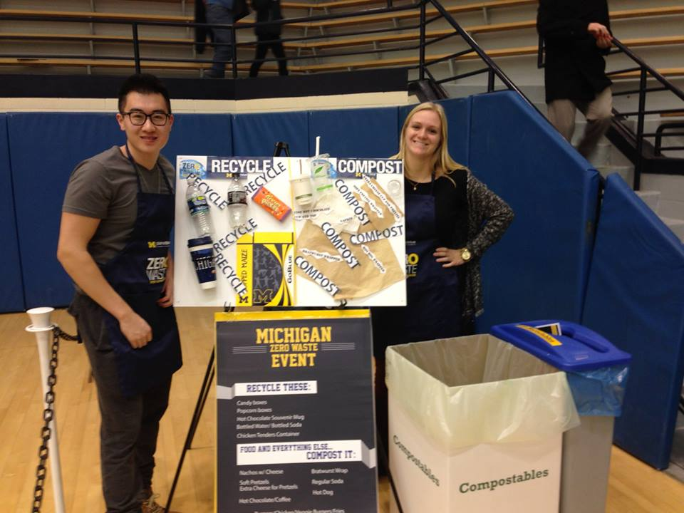 Sustainability Committee members volunteering at UM Zero-Waste Wrestling Meet to learn about managing zero-waste events.