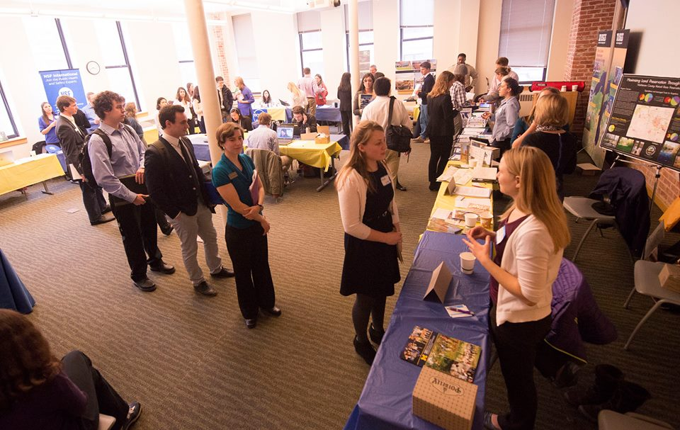 Students learn about career opportunities in the environmental field at the Green Career Fair. Over 40 companies were present giving attendees a chance to connect with a wide variety of impact-oriented business leaders.
