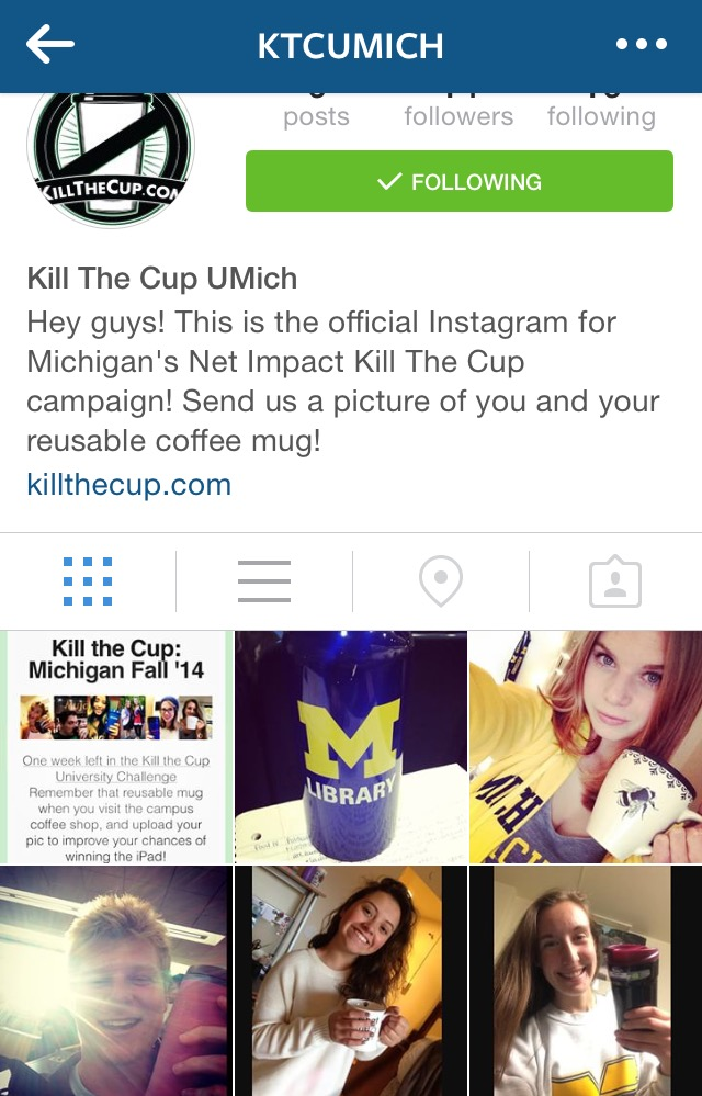 Net Impact's Instagram page for competing in the inter-University Kill the Cup initiative.