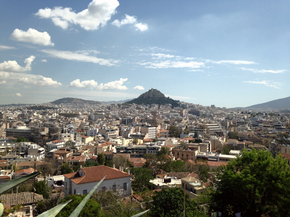 Athens: View of Mt Lycabettus from Acropolis.