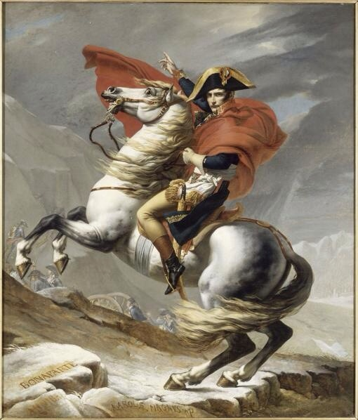 Napoleon Crossing the Alps 1800 (or Napoleon at the Saint-Bernard Pass) by Jacques-Louis David in 1802.