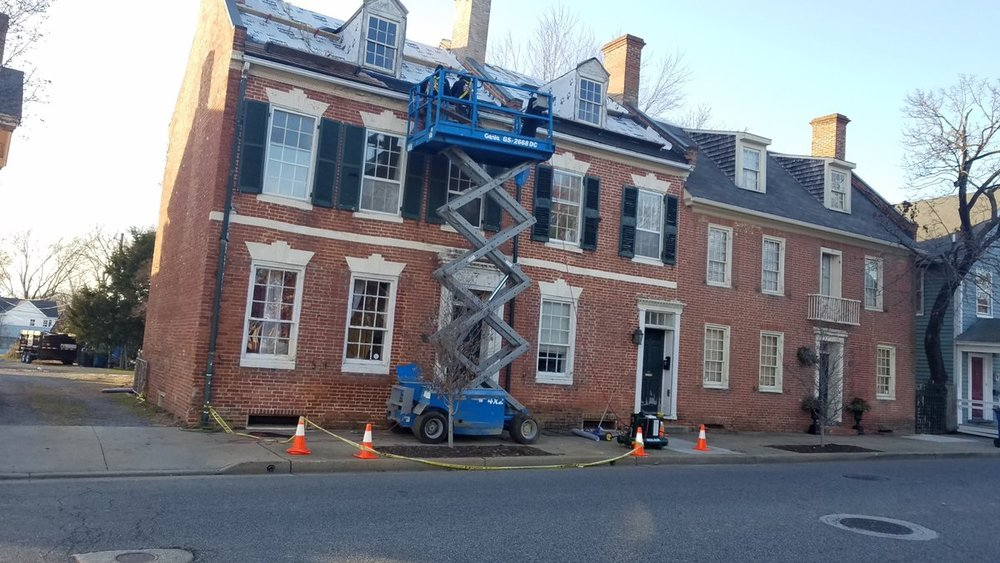The Frederick Douglas Center: restoration work now underway! - Restoration work at the future Frederick Douglas Center in Easton Maryland is underway.  Currently wood shingles with copper flashings installations and brick repointing are in progress!