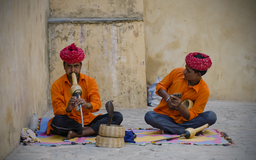 Snake charmers at the Amber Palace