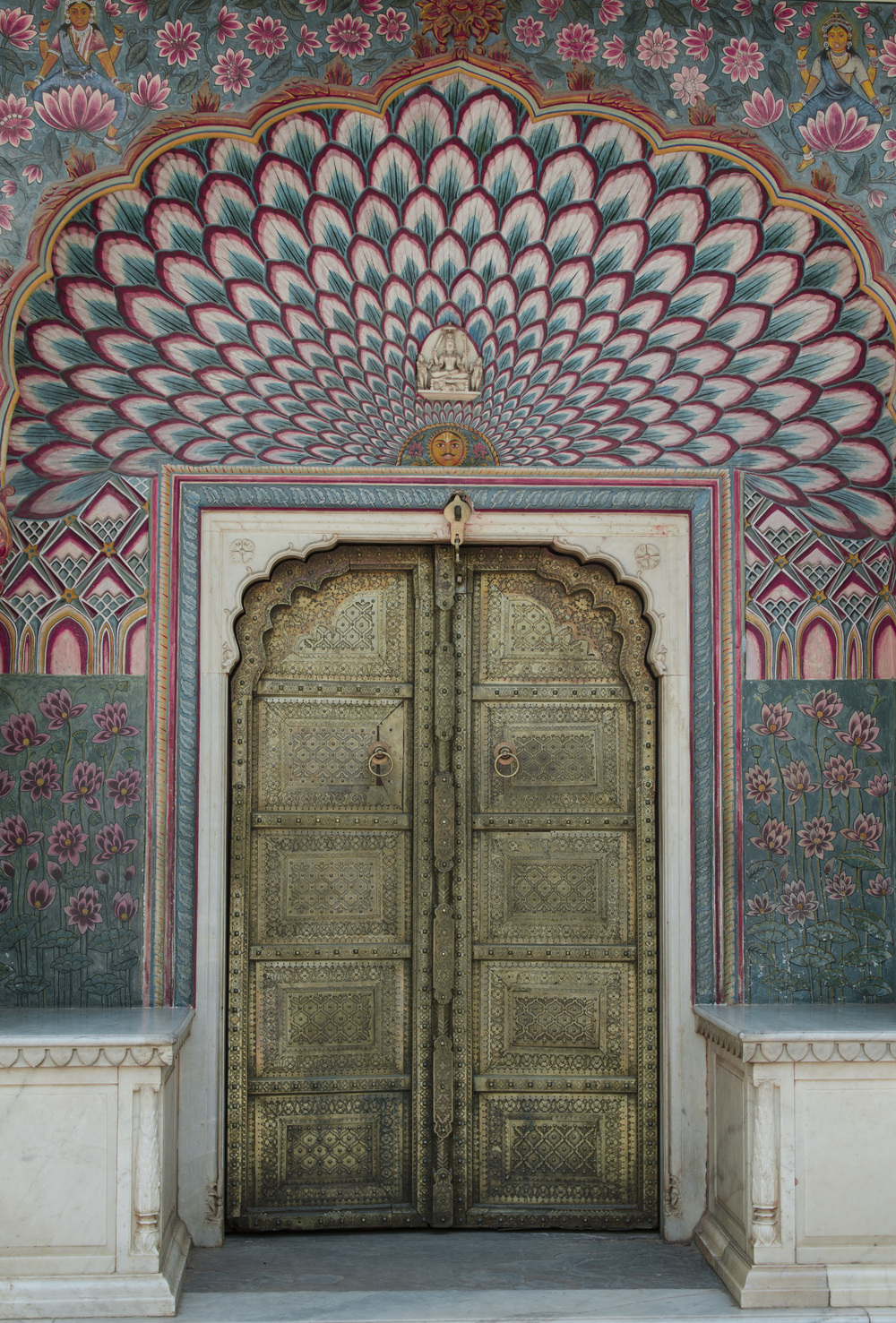 One of the beautifully painted and designed doors in the City Palace