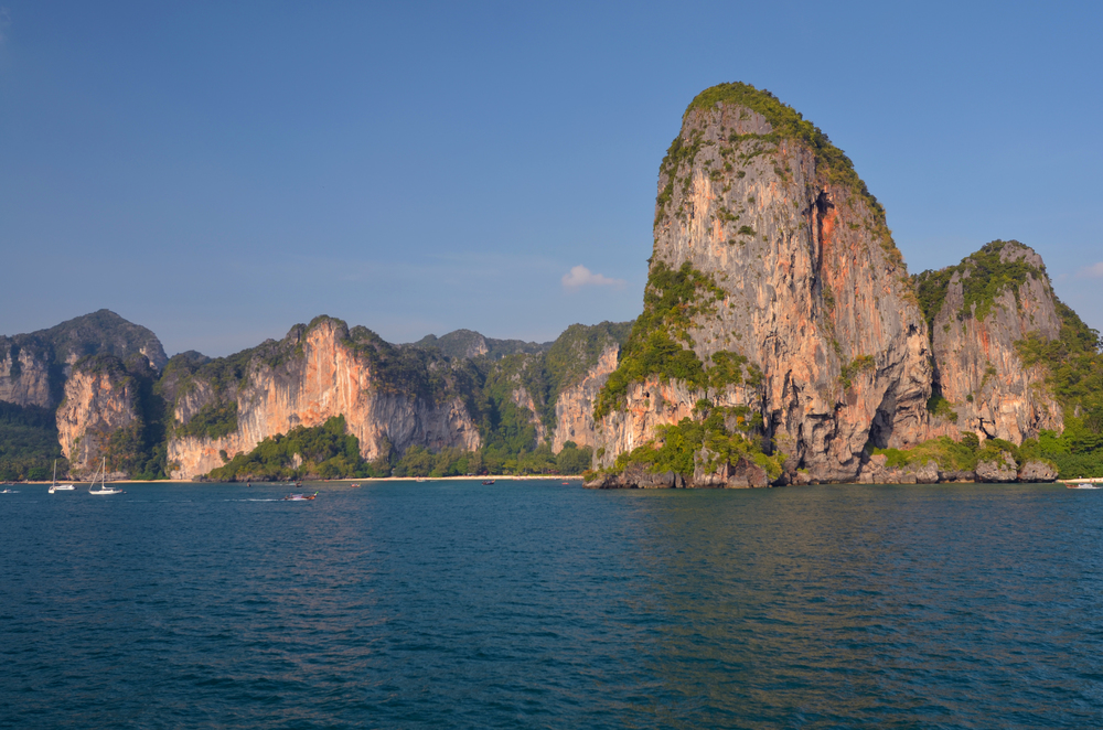 Our first glimpse of Railay. Small wooden boats transferred us from the ferry to Railay's shore.