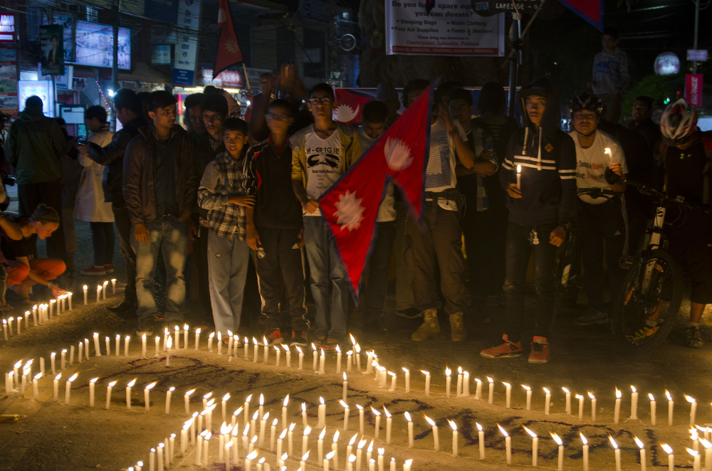 Candle light vigil in Pokhara for those killed in the earthquake