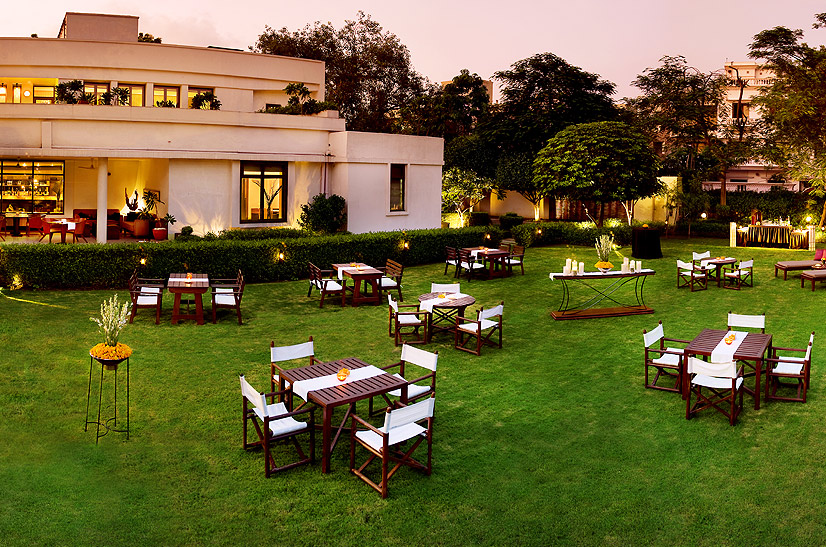 Outdoor dining at The Indian Accent, The Manor's famous restaurant