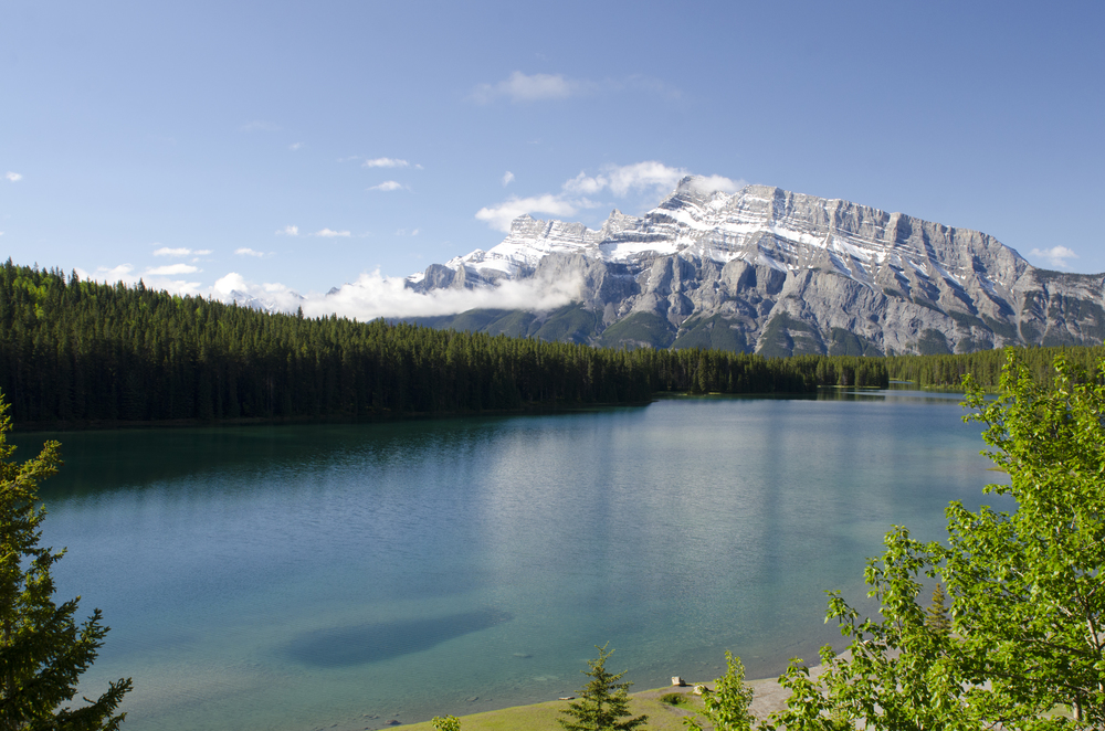 Looking back over Two Jack Lake on our way to Lake Minnewanka