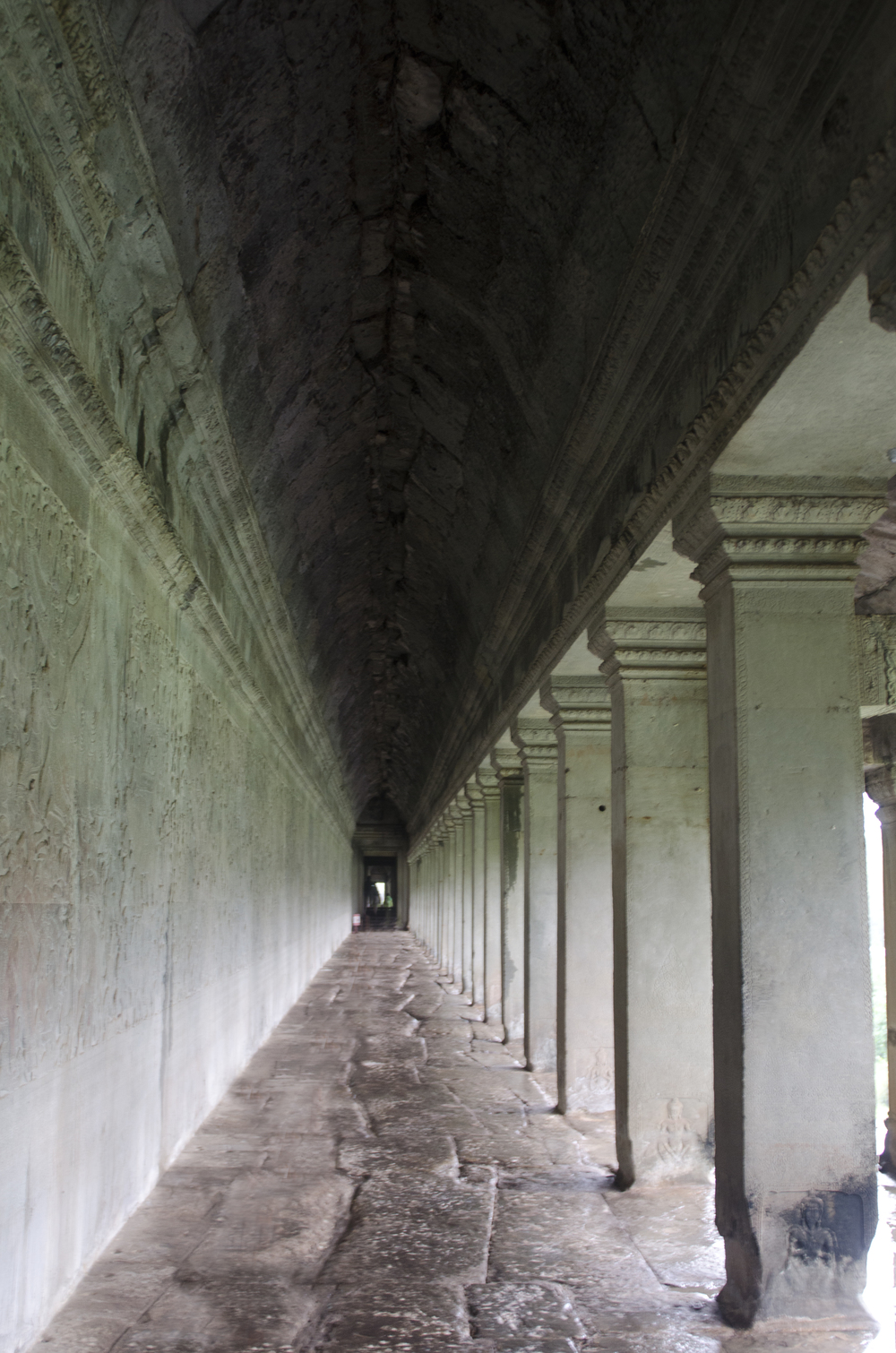 Standing in the outer gallery at Angkor Wat