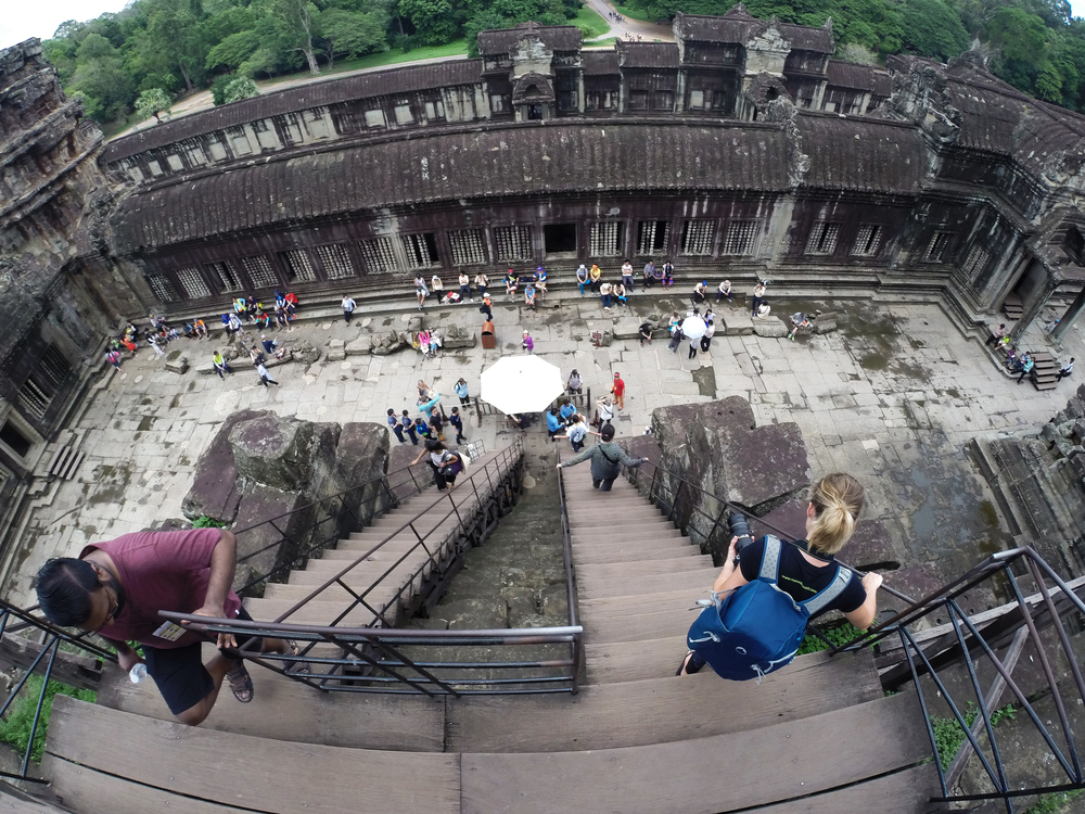 Descending from the highest point at Angkor Wat, which gives you an idea of the sheer size of the structures!
