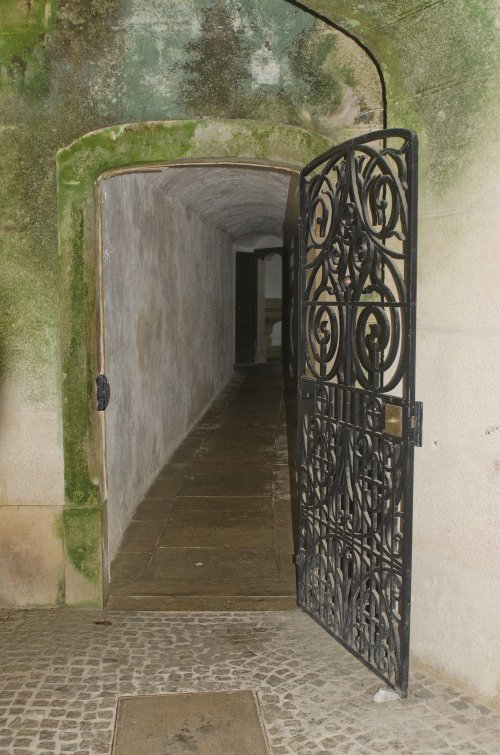 The passage leading from the basement of the chapel