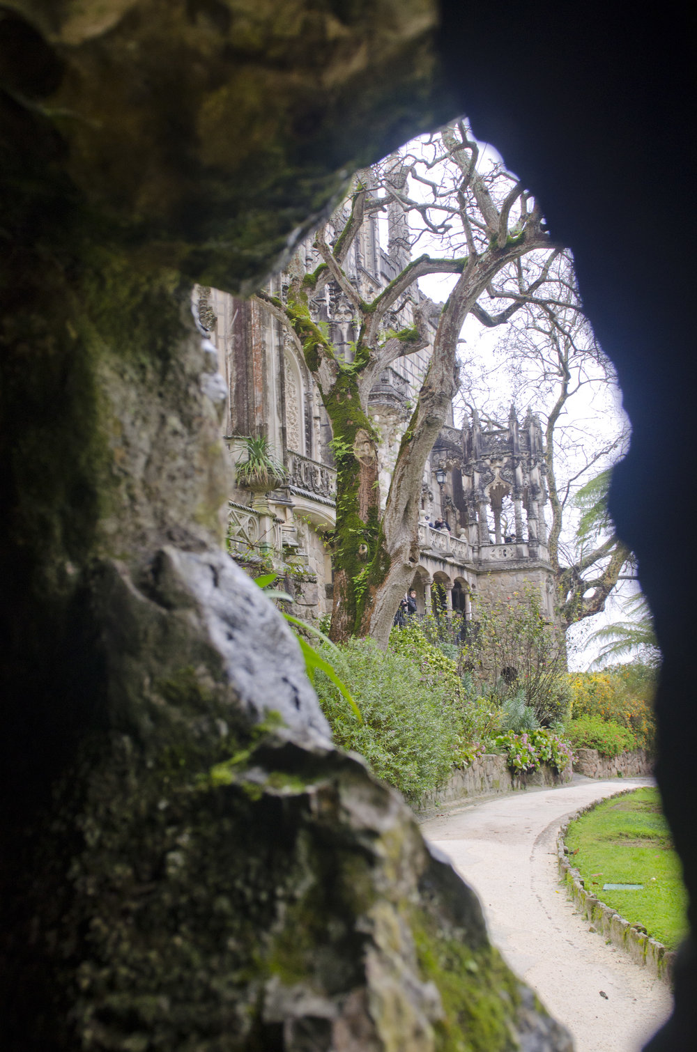 A glimpse of the main house from the walkway below the chapel