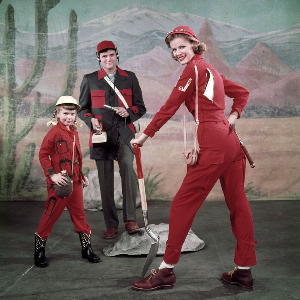 life :     In this unpublished 1955 fashion shoot, LIFE showcases what you need to wear to be an amateur Uranium prospector. Pictured here is a young girl in a 'Diggerette Jr. Suit,' Dad in a 'Smock Suit,' and Mom wearing a 'U235 Suit.' And of course, don't forget your Geiger counter! (Nina Leen—The LIFE Picture Collection/Getty Images) #fashionfriday
