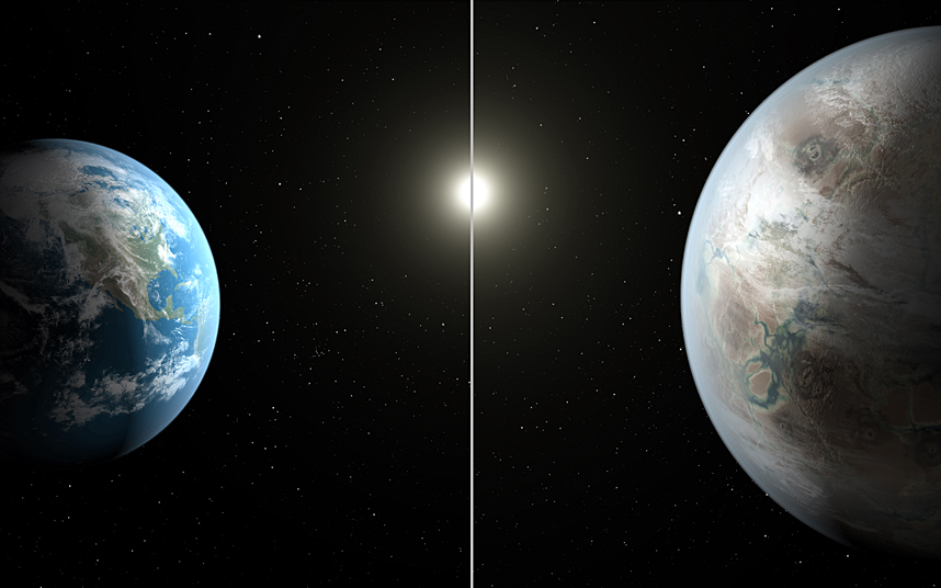 rixwilson :        Nasa has found a twin Earth orbiting a star like the Sun in the Milky Way. Kepler 452b - which has been dubbed Earth 2.0 - is six billion years old, has a 385 day year and orbits its star at the same distance as us. It is 1,400 light-years away in the constellation Cygnus. This image compares Earth, left, to Kepler-452b, which is about 60 percent larger.   Picture: NASA