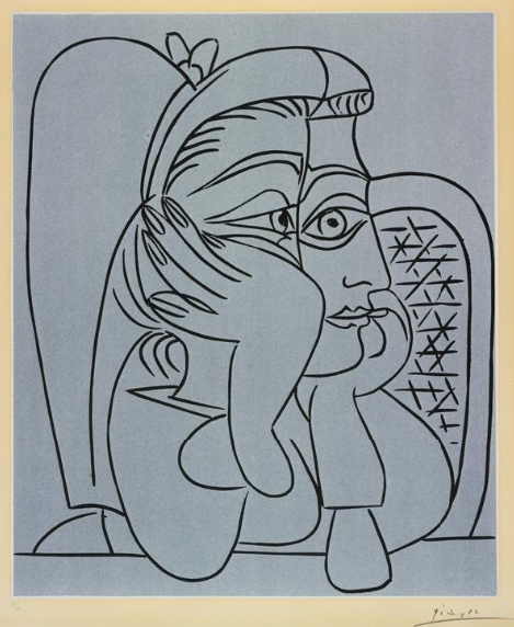 tndra: Pablo Picasso Portrait de Jacqueline Accoudée, 1959 Linocut printed in black and cream on Arches vellum