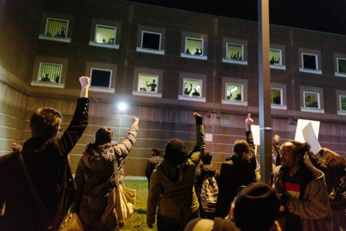 upthapermiepunx: cryptghost: one of the best pics I could find that wasn't already circling around of the South Bay Correction inmates who put their hands up and shouted things through the bars of their cells in support of Michael Brown and the unrest that is currently taking place wow