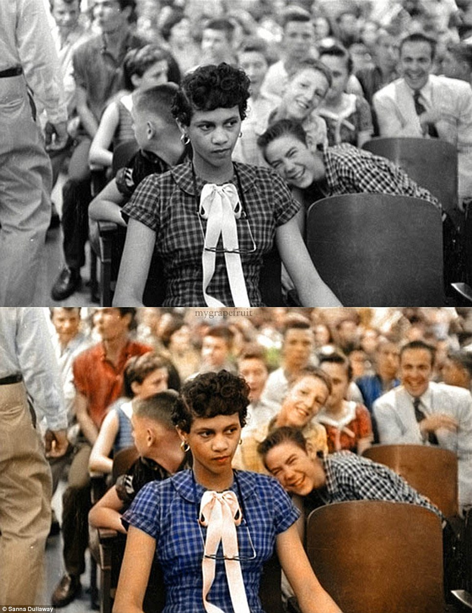 solwos: who-is-madonna: graphitetroll: haitian-sensati0n: blackorchidd: harrietsrevenge: thisiswhiteculture: Never forget…Dorothy Counts being mocked by an entirely white audience on enrollment day at Harding High School. September 4th, 1957 and they call US savages Never fucking forget Never Never forget The people in this photo are SOME OF YA'LLS GRANDPARENTS. Not your great great great great grandparents. Your GRANDPARENTS. Your dad's dad. these could easily be parents as well. Heart-crushing.